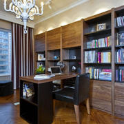 新古典书房实木整体书柜