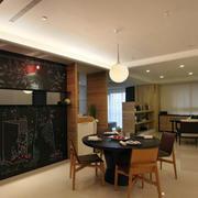 后现代风格简约餐厅实木圆形桌椅装饰
