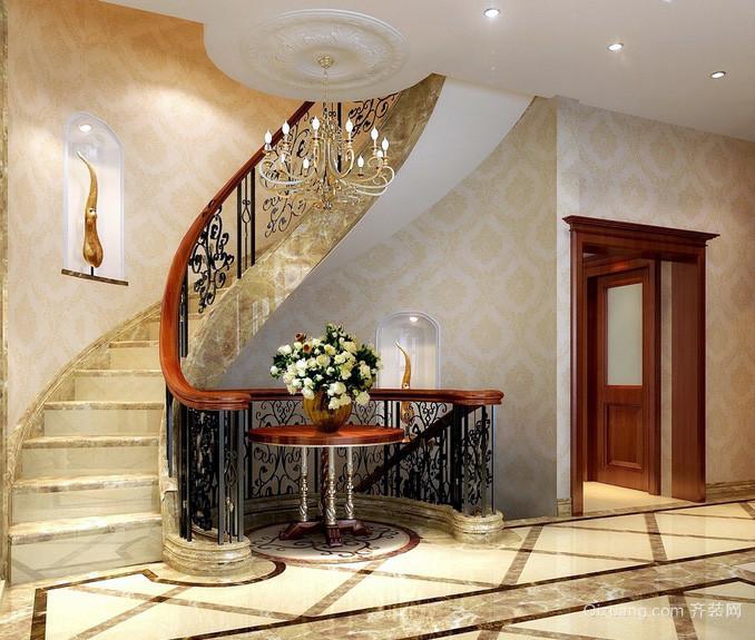 奢华混搭复式楼楼梯扶手设计效果图