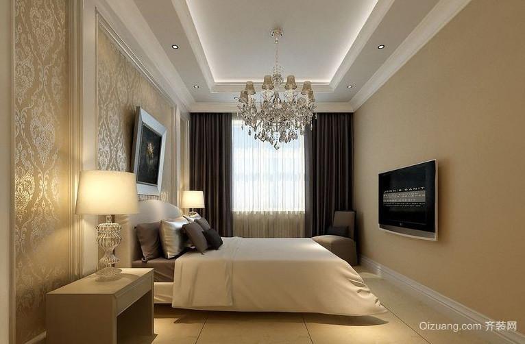 现代浅色系30平米卧室背景墙装修效果图