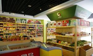 都市小区水果超市实木货柜装修设计图