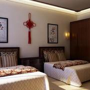 小户型中式双人间老人公寓卧室装修效果图