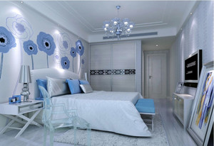2016浪漫130平米卧室背景墙装修效果图