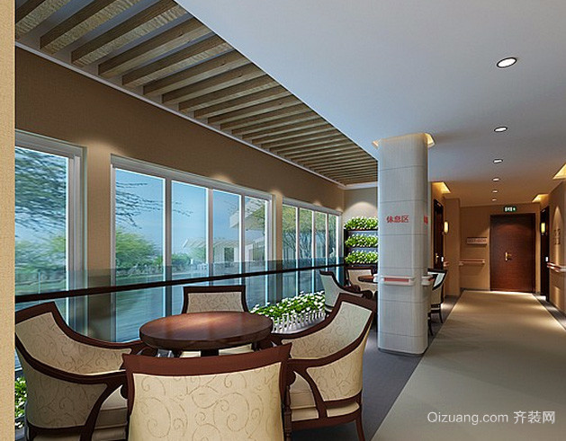 200平米大型欧式老年公寓休息室装修效果图