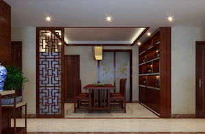 2016新中式餐厅实木酒柜效果图片大全