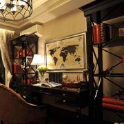 复式楼大型美式深色书房样板房装修效果图