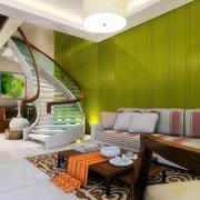 100平米清新跃层客厅楼梯设计效果图