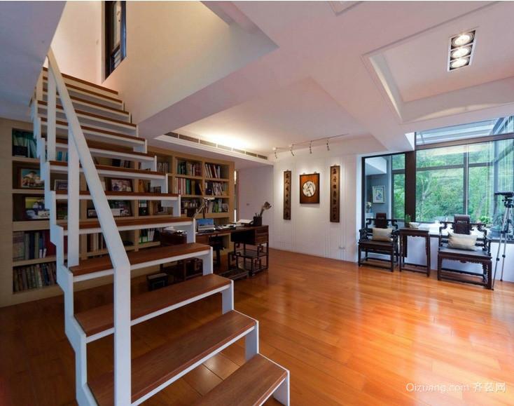 新中式别墅书房楼梯装修设计效果图