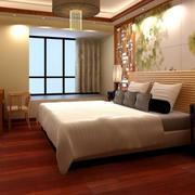 30平米中式风格卧室实木复合地板装修图