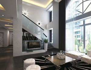 后现代复式楼室内楼梯装修设计效果图