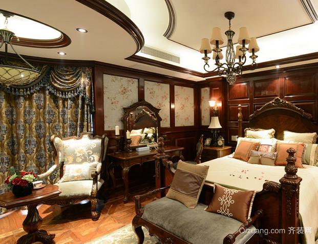 美式风格别墅精致家具卧室样板房效果图