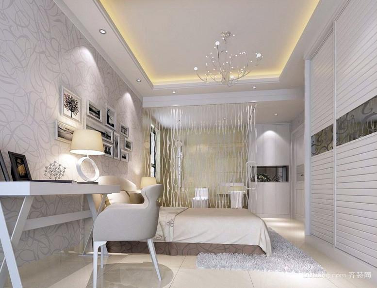简约摩登一居室卧室背景墙装修效果图