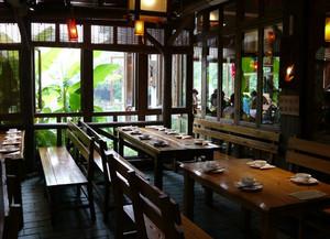 90平米景点中式简约绿茶餐厅装修效果图