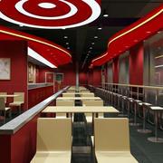 红色系快餐店桌椅装饰