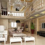欧式精美复式楼客厅装饰效果图