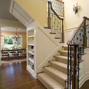 简约美式复式楼楼梯收纳装修设计效果图
