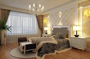 简欧120平米三居室卧室背景墙装修效果图