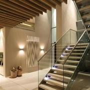 欧式简约原木复式楼楼梯装饰