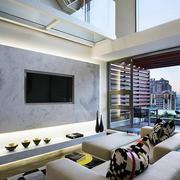欧式简约风格复式楼客厅电视背景墙装饰