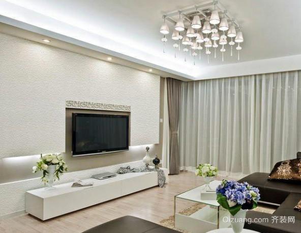 90平米现代简约风格客厅电视背景墙装饰