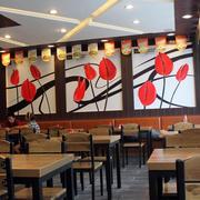 快餐店简约原木桌椅装饰