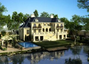 美式风格尖顶山水豪宅装修外观图