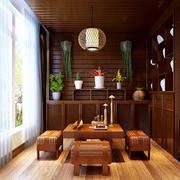 东南亚风格深色原木阳台飘窗装饰