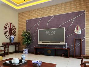 中式简约风格拼色硅藻泥电视背景墙装修图