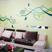 复式楼现代简约风格客厅绘画装饰