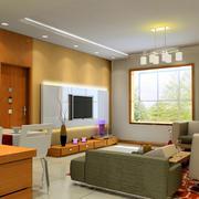 2016橙色温馨客厅墙面装修效果图欣赏