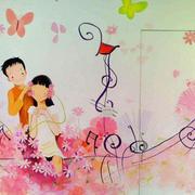 简约卡通婚房客厅手绘画装饰