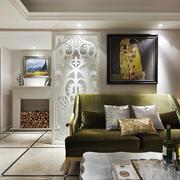 别墅客厅绿色布艺沙发