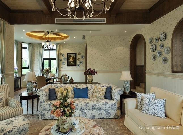 农村别墅美式田园风格客厅装修效果图