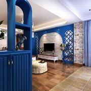 地中海风格客厅电视背景墙装修欣赏