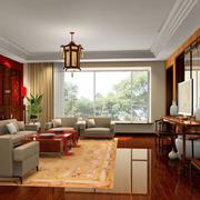 新中式大户型客厅家具装修效果图欣赏