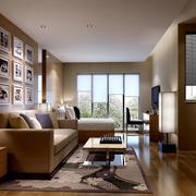 现代简约原木材料装饰公寓客厅效果图