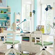 120平米都市简约风格白色系书房装修效果图