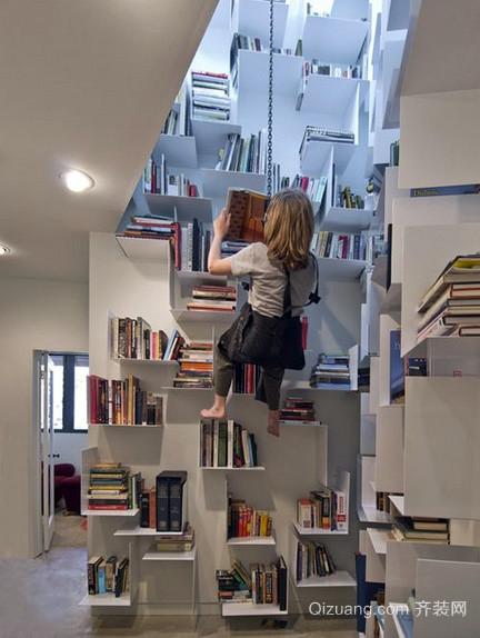 复式楼后现代风格创意书房装修效果图