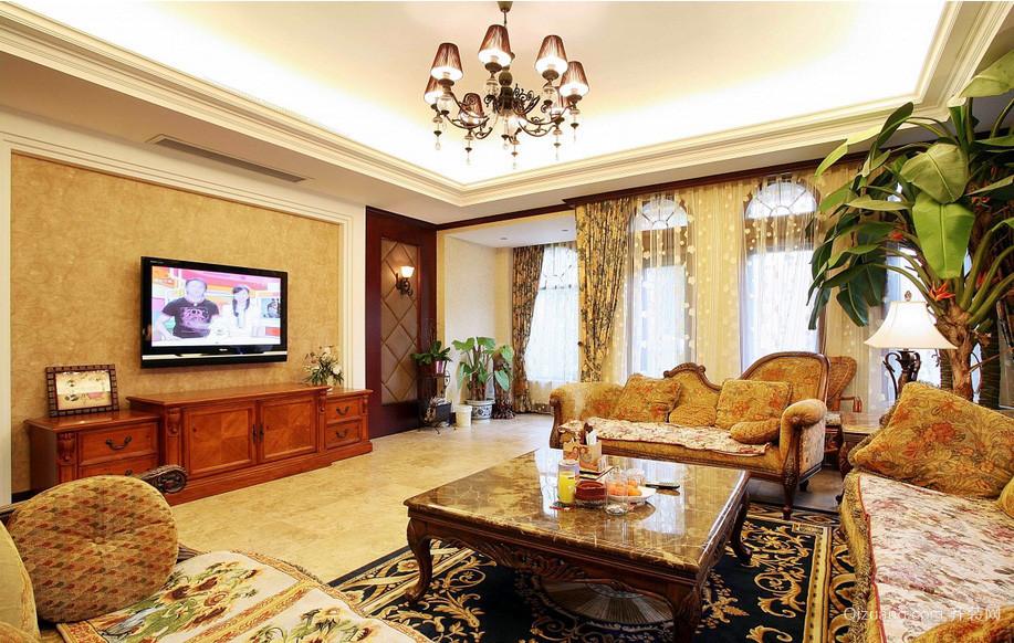 140平米田园美式客厅装修效果图欣赏