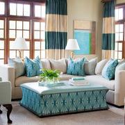 素雅小别墅客厅布艺沙发装修效果图欣赏