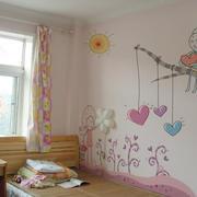 轻快风格儿童房手绘背景墙装饰