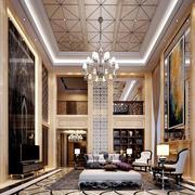 欧式风格高挑独栋别墅客厅装饰