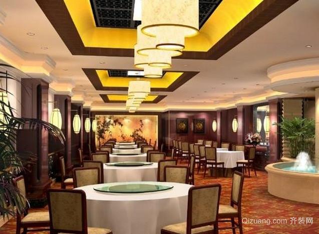 120平米中式简约原木装饰饭店装修效果图