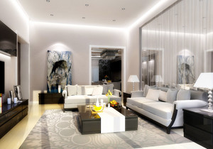 后现代90平米两居室客厅装修效果图欣赏