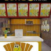 甜美橙色小型鲜榨果汁店装修效果图