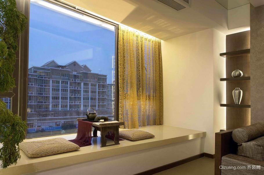96平现代单身公寓客厅飘窗榻榻米效果图