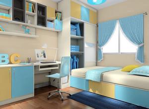 清新简约18平儿童房榻榻米床装修效果图