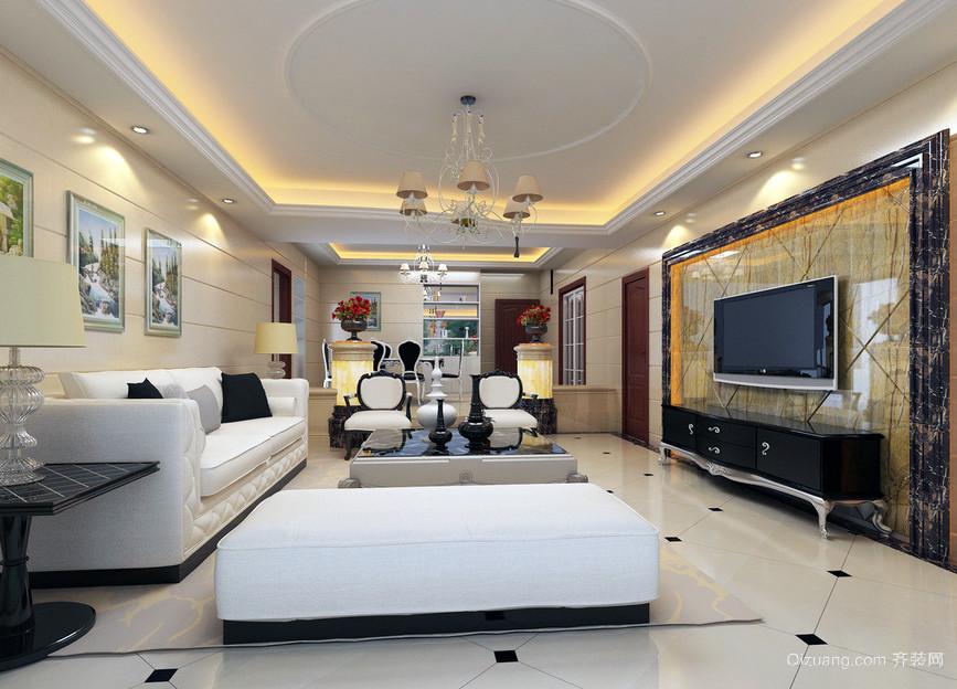 欧式100平简约风格小户型公寓室内装修效果图