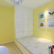黄色调儿童房效果图