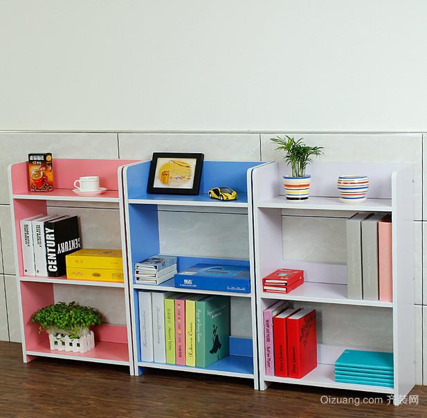 80平米家居客厅简易彩色书架效果图